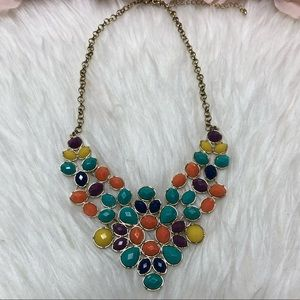 Multi Coloured Necklace Gold Beautiful New